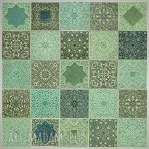 kafle arabeski odcienie zieleni, kafle, dekory, arabeski, płytki, kafle-ścienne