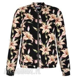 bluzy piękna jesienna bomberka, elegancka czarna bluza w duże lilie