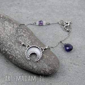 naszyjniki księżycowa mgiełka z ametystem, księżyc, lunula, delikatny, drobny