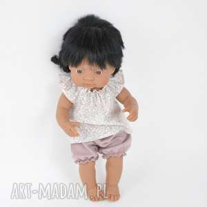 Zestaw tunika łączka bloomersy Miniland, lalki, ubranka, hiszpańskie