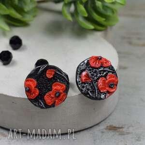 małe kolczyki wkrętki czerwone maki, kwiaty, czarno