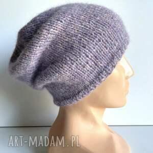 ręcznie robiona czapka hand made alpaka air 15 fioletowa mgiełka, czapka, czapki