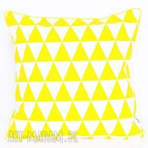 hand-made poduszki poduszka bawełnina trójkąty żółte 40x40cm