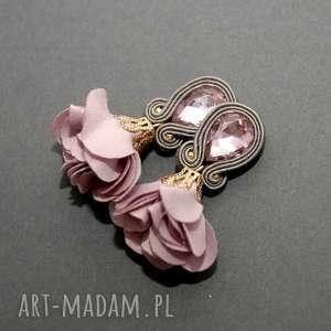 sisu kolczyki sutasz z kwiatkiem, sznurek, eleganckie, wiszące, wieczorowe, małe