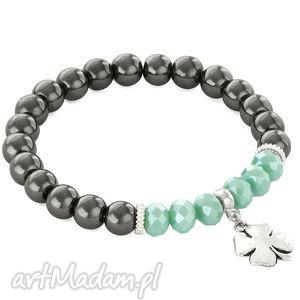 steel hematite & dark mint crystal with clover - kryształek, koniczynka