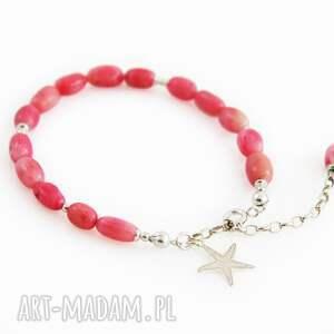 bransoletka z różowym koralem w srebrze, koral, srebrna