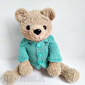 handmade maskotki pluszowy pan miś w turkusowym rozpinanym sweterku
