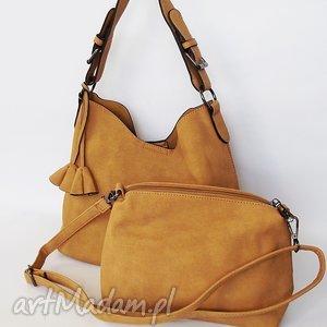 na ramię dwie w jedniej- miodowa, torba, torebka torebki, wyjątkowy prezent
