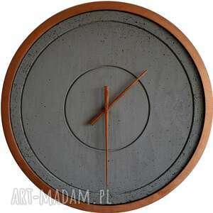Duży zegar betonowy miedziany szary handmade designerski