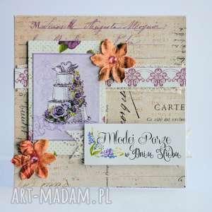 kartka - młodej parze w dniu Ślubu - kartka, ślub, para, młoda, tort