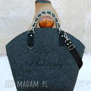 ręcznie wykonane torebki filcowa szara czarna torebka hobo black, shine