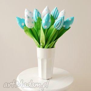 ręcznie robione dekoracje tulipany - bawełniany bukiet kwiatów