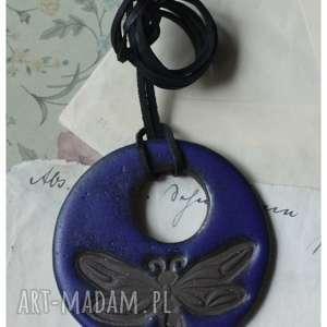 handmade wisiorki wisior z ważką granatowy mat