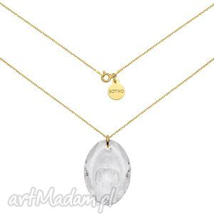 długi złoty naszyjnik z kryształowym buddą swarovski®