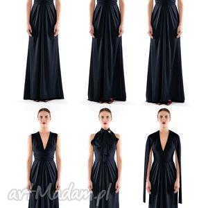 multistylizacyjna suknia - creative dress, długa, elastyczna, czarna, wieczorowa