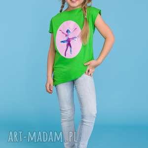 Letnia bluzeczka dla dziewczynki z aplikacją baleriny, zielony, letnia,