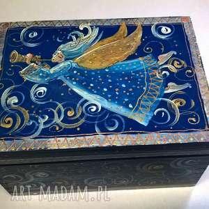 pudełka szkatułka z aniołkiem, anioł, aniołek, szkatułka