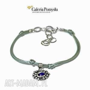 Bransoletka z ametystem, ametyst, srebro, 925, sznurek, jedwabny