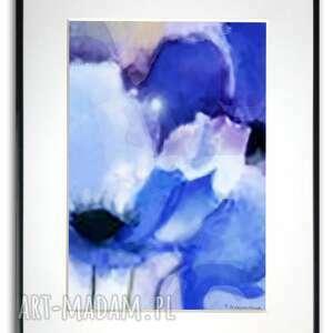grafika w ramie z passe-partout niebieskie maki 30x40