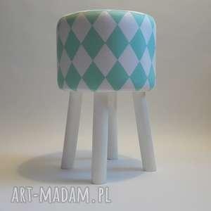 pufa miętowy arlekin - białe nogi 2 45 cm, stołek, ryczka, taboret, hocker