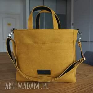 ręcznie wykonane na ramię magosha office a4, kolor żółty miodowy, gruby eko nubuk