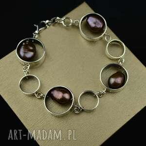 bransoleta z barokowymi perłami srebro, bransoleta, duża bransoletka, perły