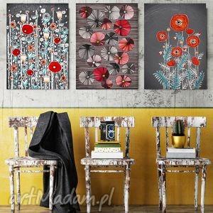 zestaw 3 prac 50x70cm, plakat, maki, kwiaty dom, prezent na święta