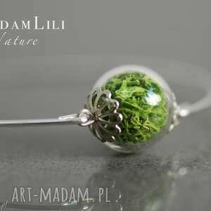 Prezent Posrebrzana bransoletka z prawdziwym zielonym mchem, mech,
