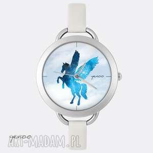 zegarek, bransoletka - pegaz jasno szary, skórzany, bransoletka, skórzany