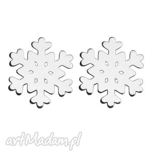 na święta prezenty srebrne kolczyki śnieżynki