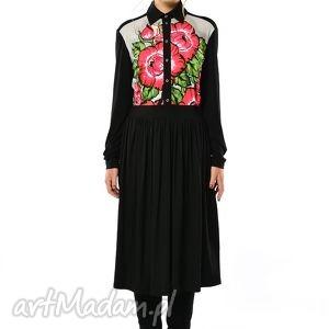 Lesława Midi- sukienka koszulowa w kwiaty, koszulowa, jersey, midi,