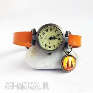 zegarek - kotki skórzany, camel, zegarek, bransoletka