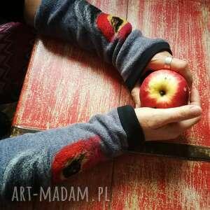 rękawiczki mitenki w kolorze szarym filcowane wełna merynosów -prod wir -