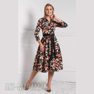 sukienka sabina midi larisa, rozkloszowana, midi, kwiaty, wiosna, kołnierzyk