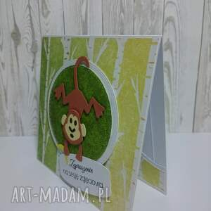 zaproszenie kartka małpka w lesie - małpka, sesja, urdziny, dżungla