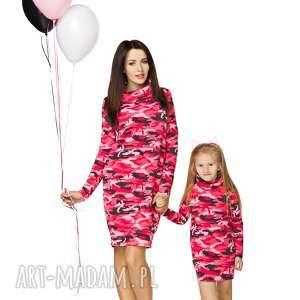 sukienki komplet dla mamy i córki - sukienka dresowa, sukienka, komin