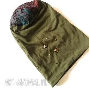 hand made czapki czapka damska ciemna zieleń wiosenna