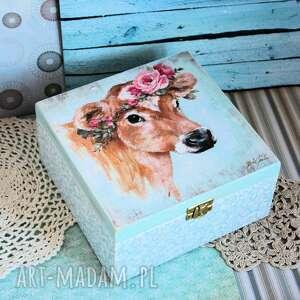 pudełka pudełko drewniane - romantyczna krówka, pudełko, decoupage, krowa
