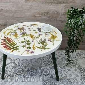 stolik kawowy z kwiatami naturalnymi - zielnik, kawowy, okrągły