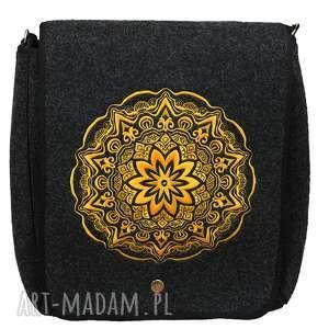 ręcznie zrobione filcowa torebka listonoszka okrąg