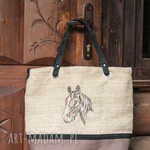 torba haft,, koń, torba, torebka, juta, pod choinkę prezenty