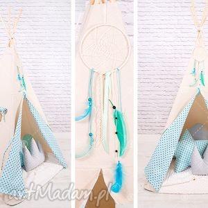 handmade pokoik dziecka tipi namiot do pokoju lub ogrodu - szare groszki na turkusie
