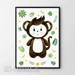 Plakat obraz małpka elvis 50x70 cm b2 pokoik dziecka hogstudio