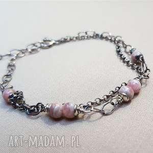 bransoletka ze srebra i rodochrozytu 729, delikatna biżuteria, srebro