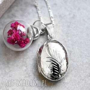 925 Srebrny naszyjnik z suszonymi kwiatami, medalion, zawieszka, kwiaty, suszone