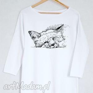 LIS bluzka bawełniana oversize L/XL biała, bluzka, koszulka, lis, nadruk,