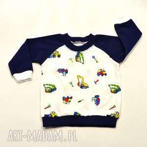 KOPARKI biało-granatowa bluza dla chłopca, 100% bawełna, rozmiary 68-98, koparki
