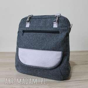 plecak torba listonoszka - tkanina antracyt i lawenda, pakowna, elegancka