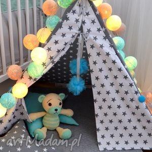 tipi małe gwiazdki - teepee, tipi, namiot, wigwam, domek, lalek