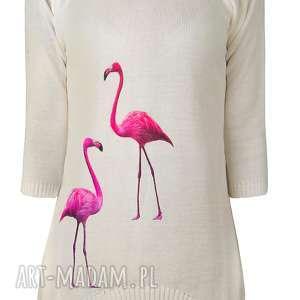 swetry sweterek z naszywkami s/m,l/xl, aplikacje, naszywki, flamingi, ptaki, bluzka